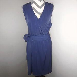 {L} Chico's Periwinkle Blue Wrap Sleeveless Dress